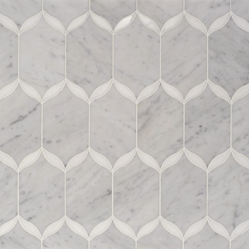 White Carrara, Thassos White Multi Finish Caridad Marble Waterjet Decos 9 23/32x13 1/4