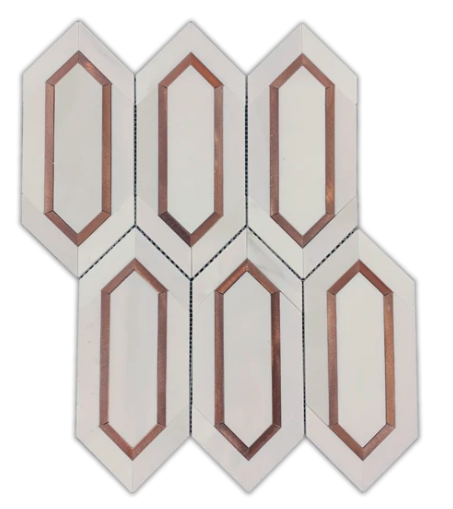 DOLOMITE PICKET WITH COPPER ROSE ALUMINUM MOSAIC HONED