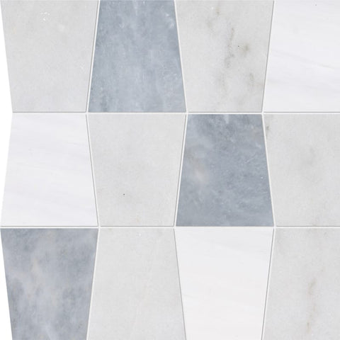 Glacier, Afyon Gray, Snow White Honed Tapered Marble Waterjet Decos 12 1/2x12