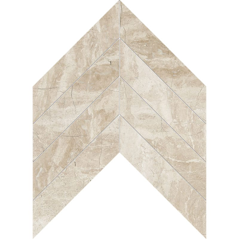 Diana Royal Polished Chevron Marble Waterjet Decos 13x10