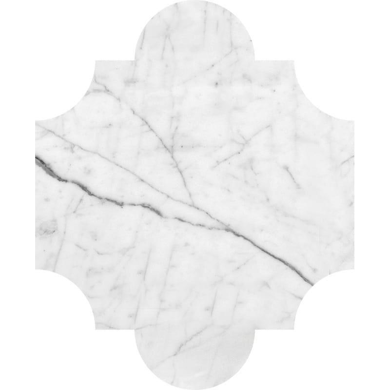 White Carrara C Polished San Felipe Marble Waterjet Decos 8x9 3/4