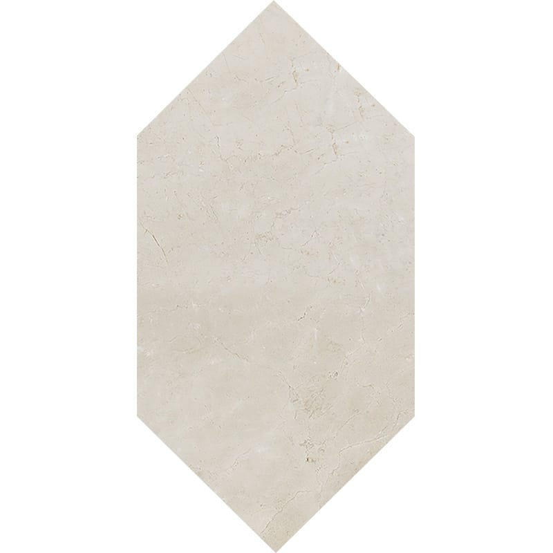 Crema Marfil Polished Large Picket Marble Waterjet Decos 6x12