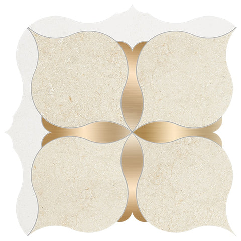 Casablanca, Champagne, Brass Honed Amelia Limestone Waterjet Decos 9 5/8x9 5/8