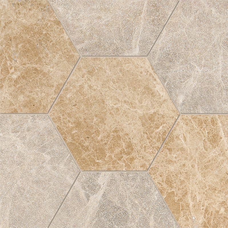 Paradise Multi Finish Hexagon Marble Waterjet Decos 5 25/32x5