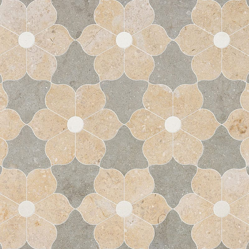 Champagne, Seashell, Olive Green Multi Finish Theodora Limestone Waterjet Decos 12 1/8x14