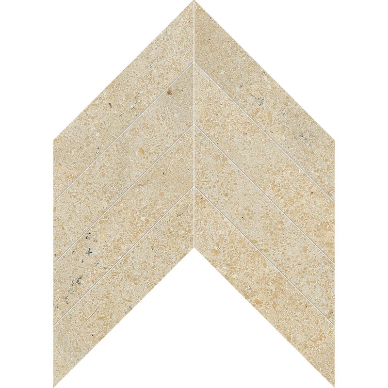 Seashell Honed Chevron Limestone Waterjet Decos 13x10