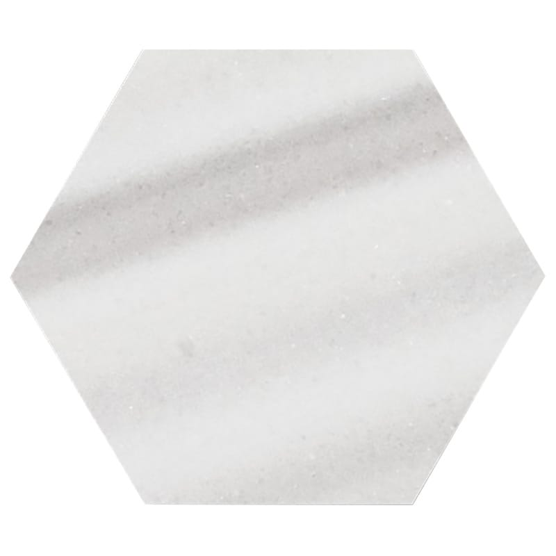 Frost White Polished Hexagon Marble Waterjet Decos 5 25/32x5