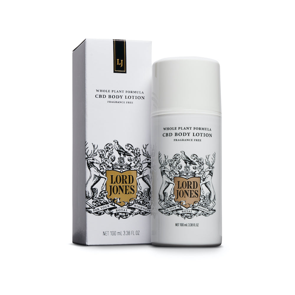 Lord jones CBD body lotion next to white box