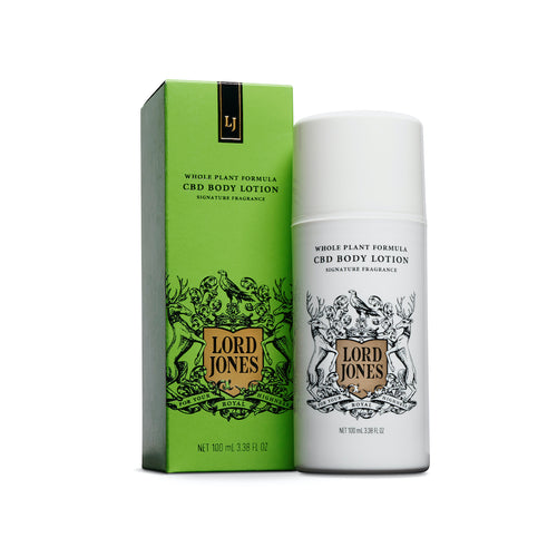 Lord jones CBD body lotion next to green box