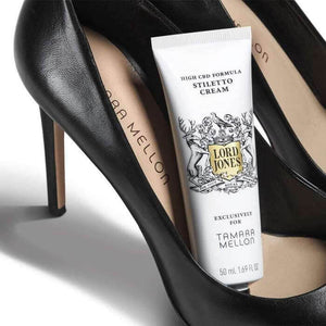 lord jones tamara mellon cbd stiletto foot cream inside pair of heels