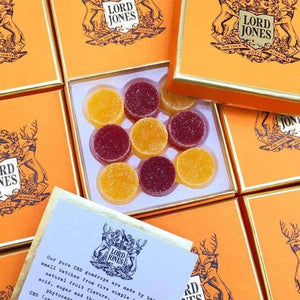 lord jones citrus and berry CBD gumdrops arranged in box