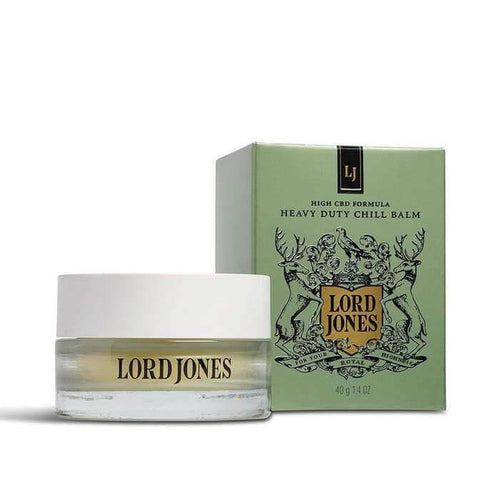 lord jones heavy duty cbd chill balm next to box