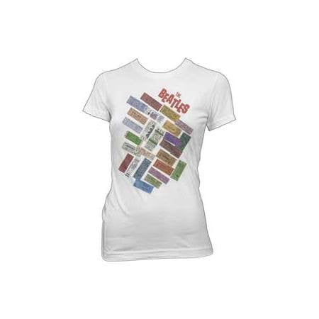 The Beatles Tickets Stacked Juniors T-Shirt