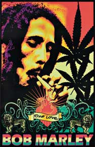 Bob Marley One Love Velvet Blacklight Poster