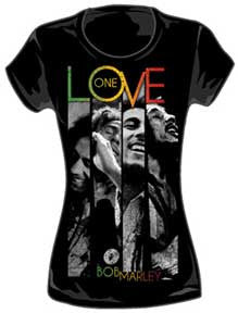 Bob Marley One Love Stripes Ladies T-Shirt