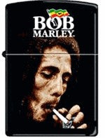 Bob Marley Smoking Black Matte Zippo Lighter