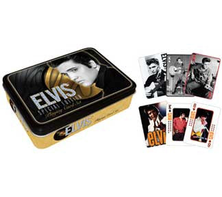 Elvis Presley Gold Playing Cards Tin Set 2 Decks