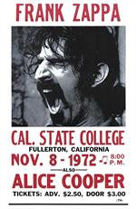 Frank Zappa and Alice Cooper Cal State College Concert Poster