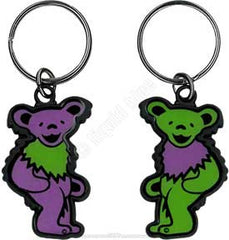 Grateful Dead Green and Purple Dancing Bear Keychain