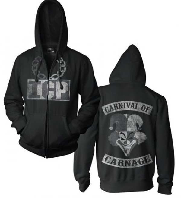 Insane Clown Posse Black and While Carnival of Carnage Zip Hoodie