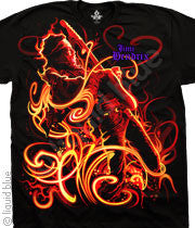Jimi Hendrix On Fire Black T-Shirt