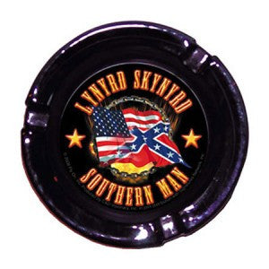 Lynyrd Skynyrd Flags Glass Ashtray