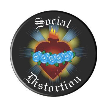 Social Distortion Blue Rose Heart Round Magnet