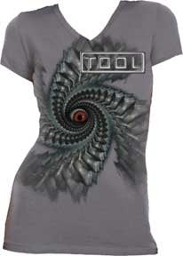 Tool Spiral Juniors V-Neck Tissue T-Shirt