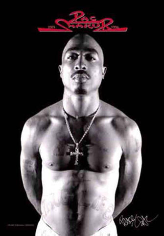 Tupac Black and White Fabric Poster
