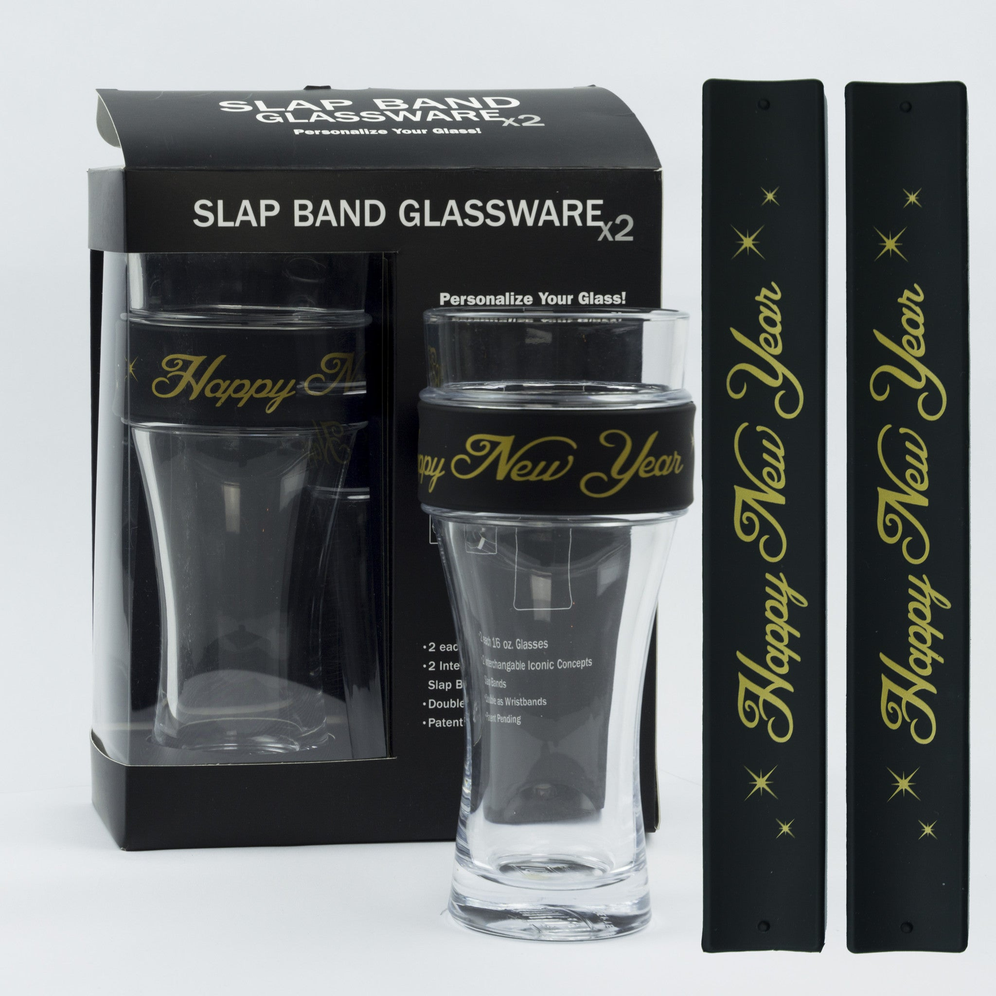 New Year Slap Band Glassware - Gold