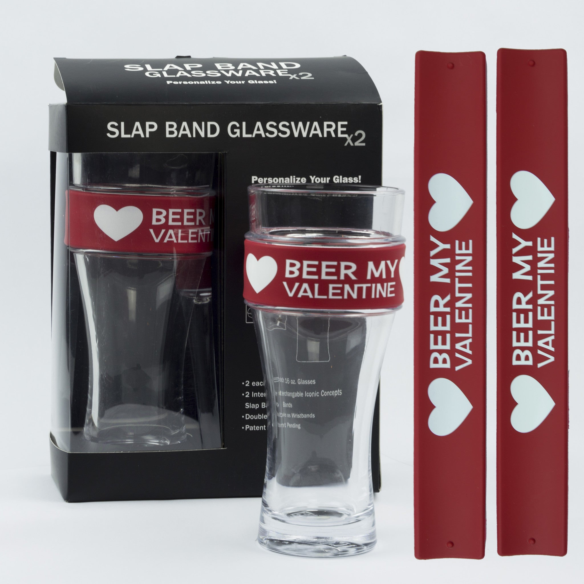 Valentines Day Slap Band Glassware - Beer My Valentine