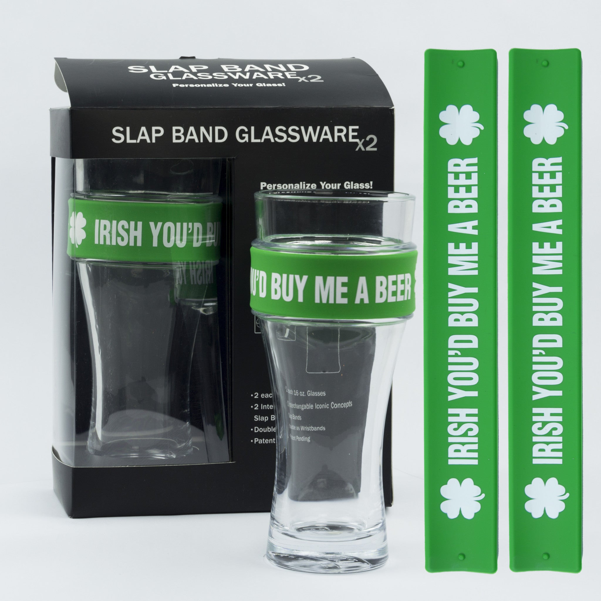 St Patricks Day Slap Band Glassware - Irish You'd Buy Me A Beer