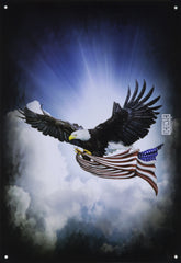 Patriotic Eagle With American Flag Tin Sign
