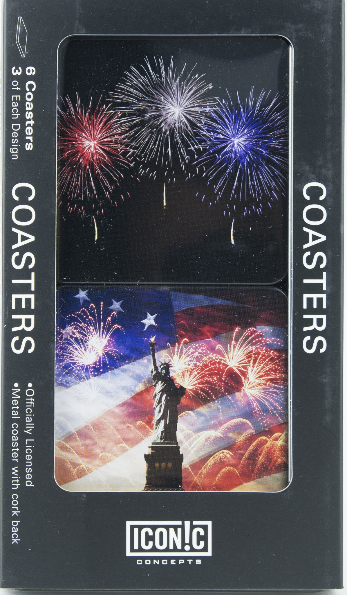 Patriotic Coasters - Statue Of Liberty With Flag And Fireworks