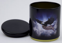 Patriotic Eagle With American Flag Stackable Tin Container
