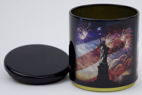Patriotic Statue Of Liberty With Fireworks Stackable Tin Container