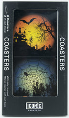Halloween Coasters - Orange Moon With Bats And Spiderweb