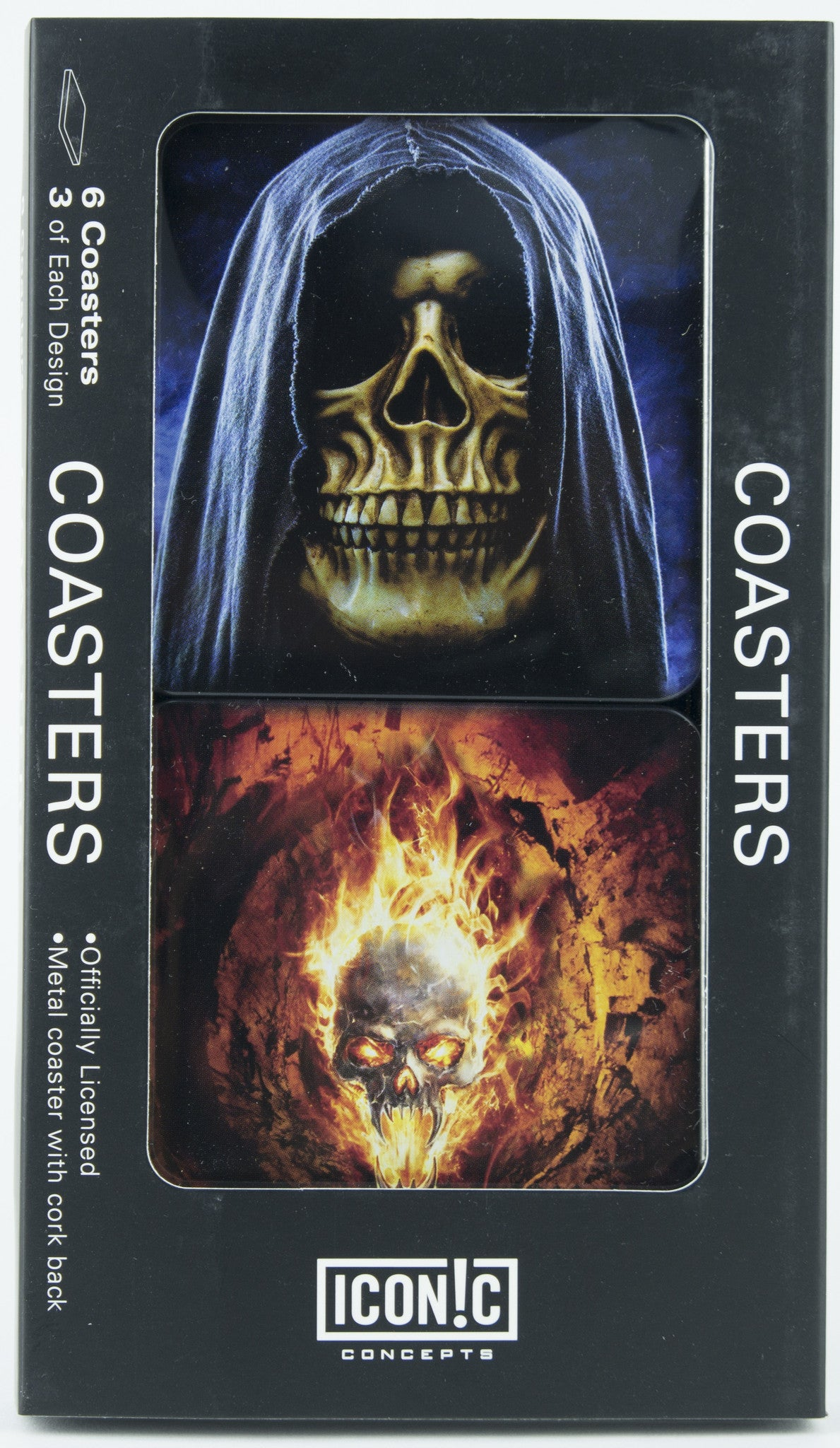 Halloween Coasters - Hooded Skull and Fire Skull
