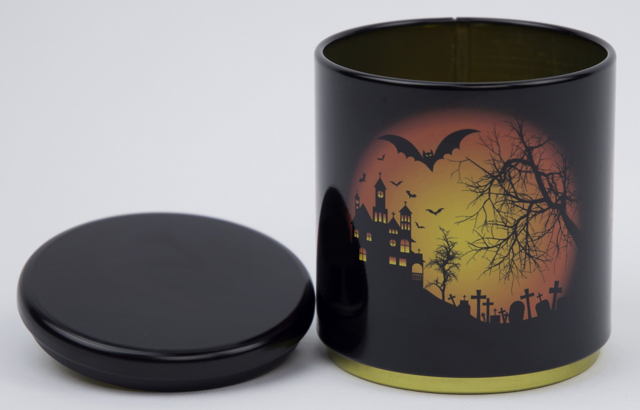 Halloween Bats In Graveyard Orange Glow Stackable Tin Container