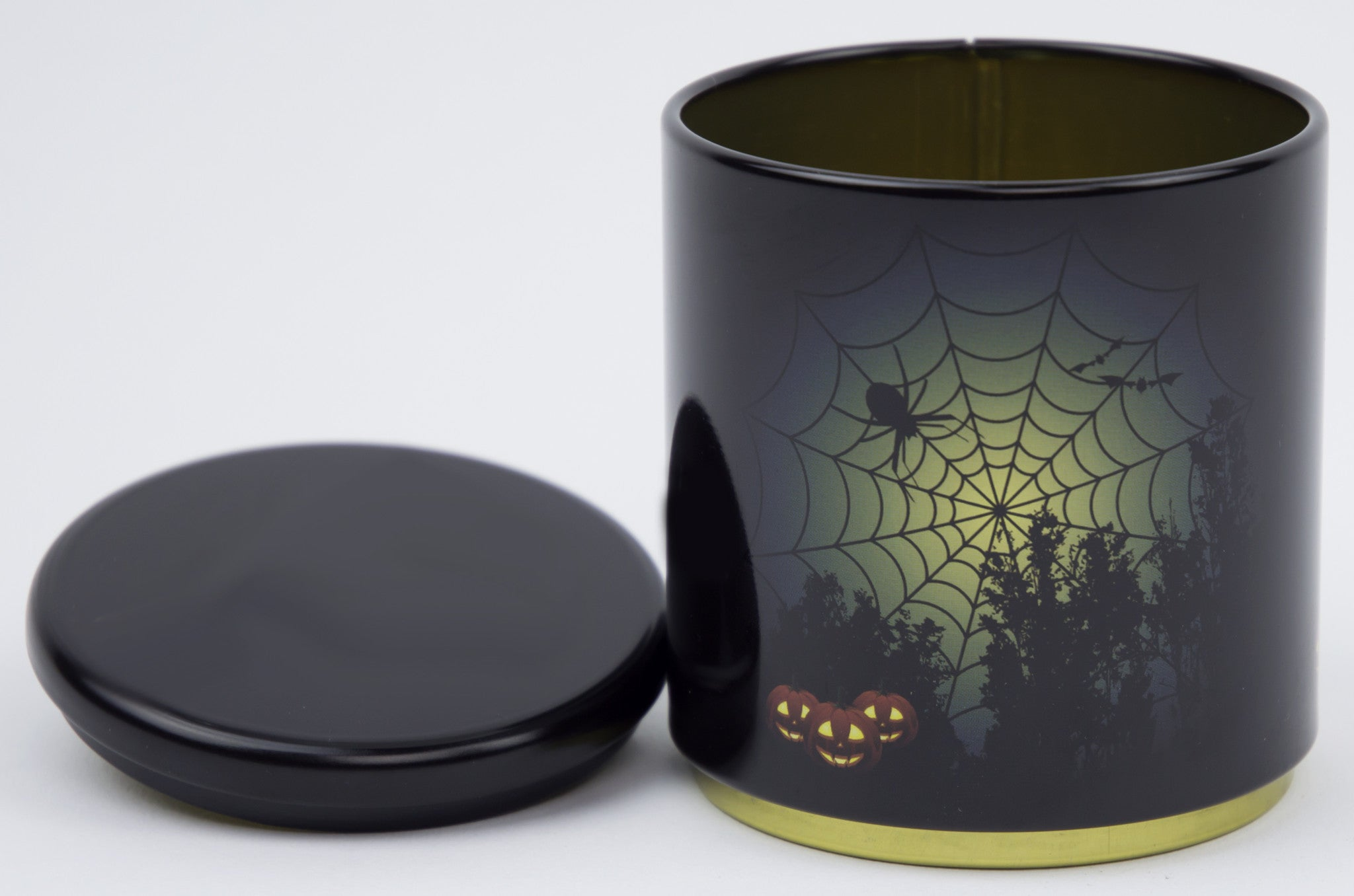 Halloween Spider Web And Pumpkins Stackable Tin Container