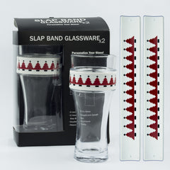 Holidays Slap Band Glassware - Red Christmas Tree