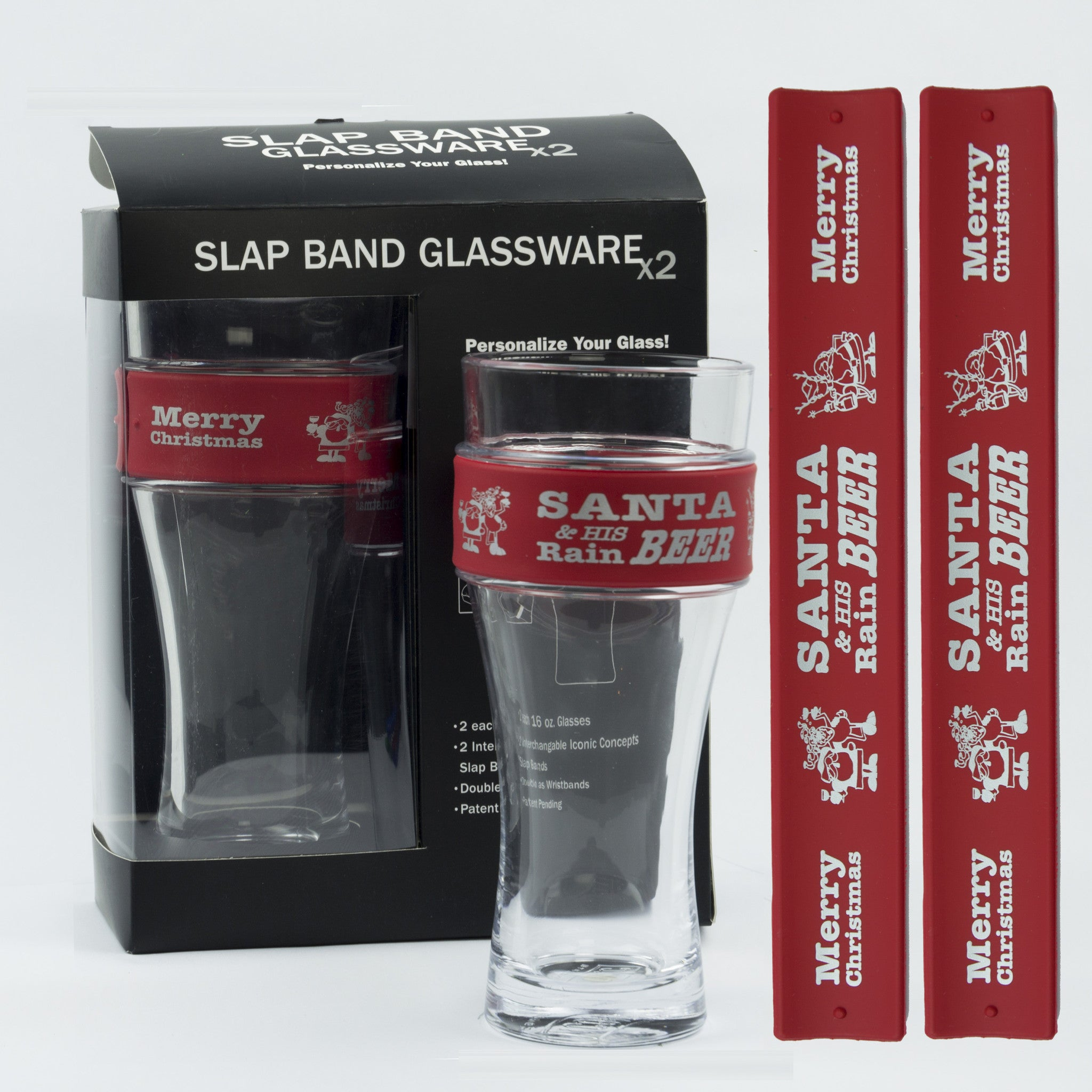 Holidays Slap Band Glassware - Santa And His Rainbeer