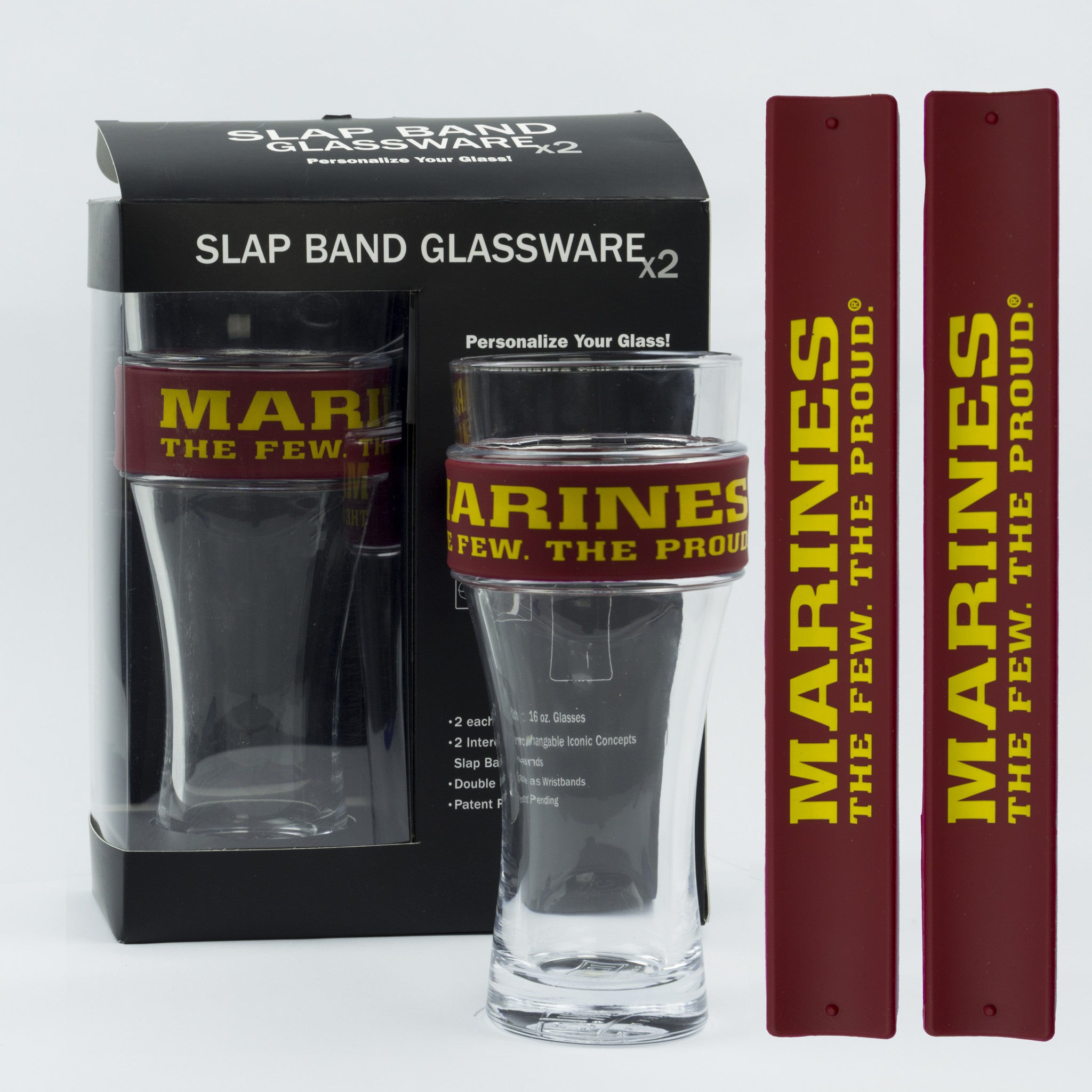 Military Slap Band Glassware - Marines