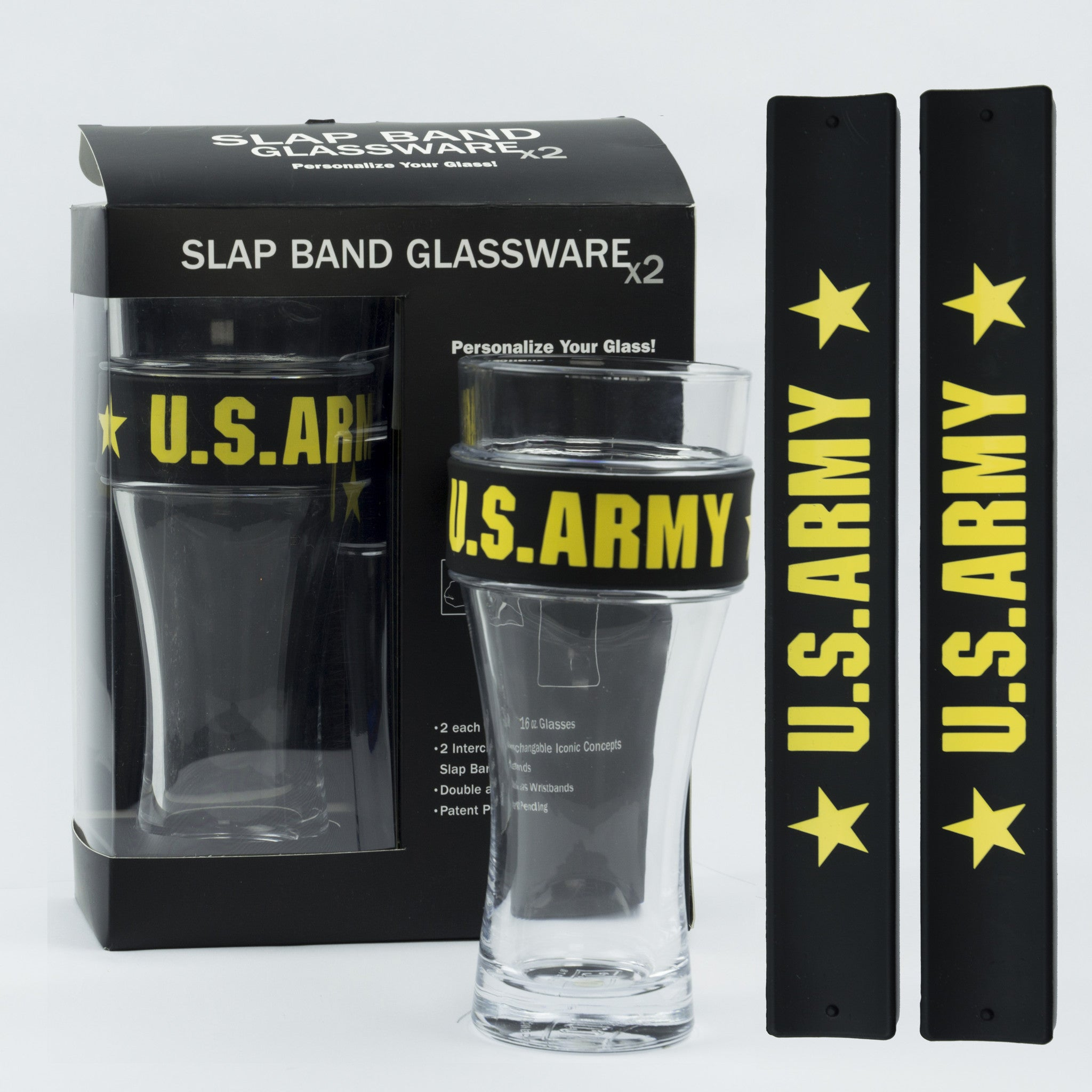 Military Slap Band Glassware - US Army
