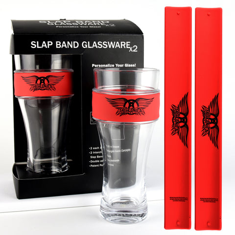 Aerosmith® 2 Pack Slap Band Glassware (Red w/Black Logo)