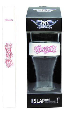Aerosmith Slap Band Glassware  - Single Pack with Slap Band Aerosmith Script Logo - White Band w/Red Logo