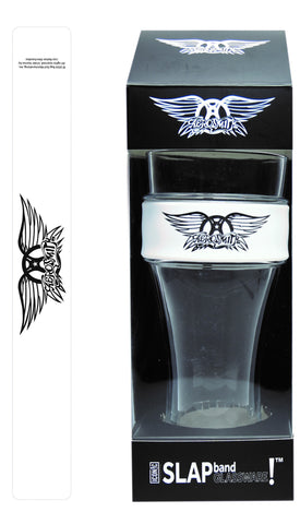 Aerosmith Slap Band Glassware - Single Pack with Slap Band Aerosmith  Logo - White Band w/Black Logo