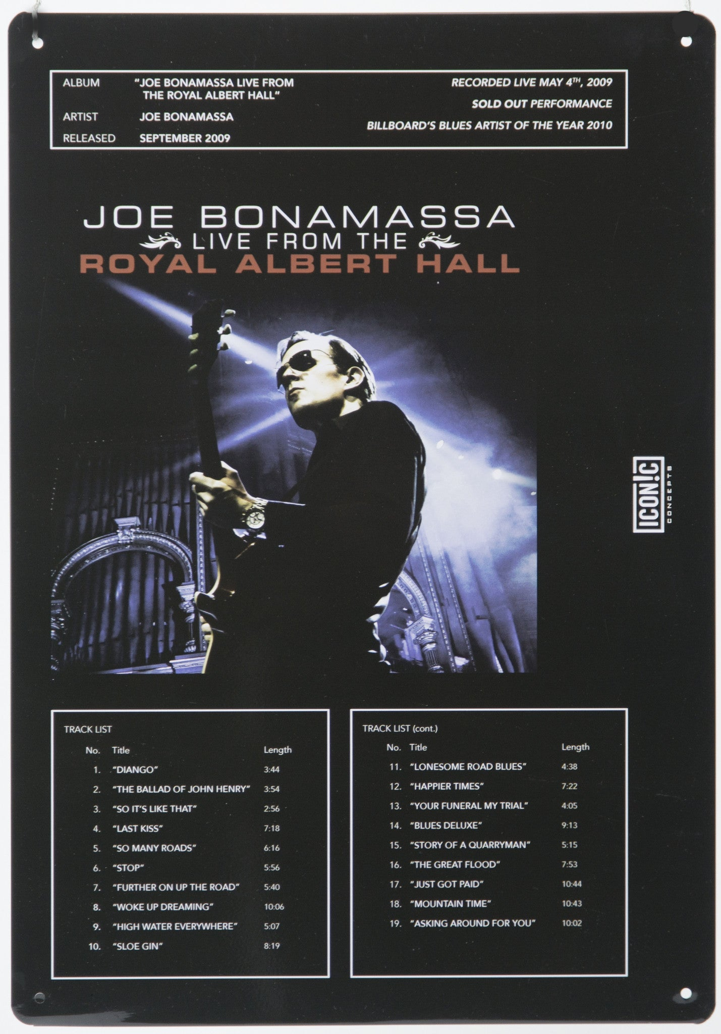 Joe Bonamassa Tin Sign - Royal Albert Hall