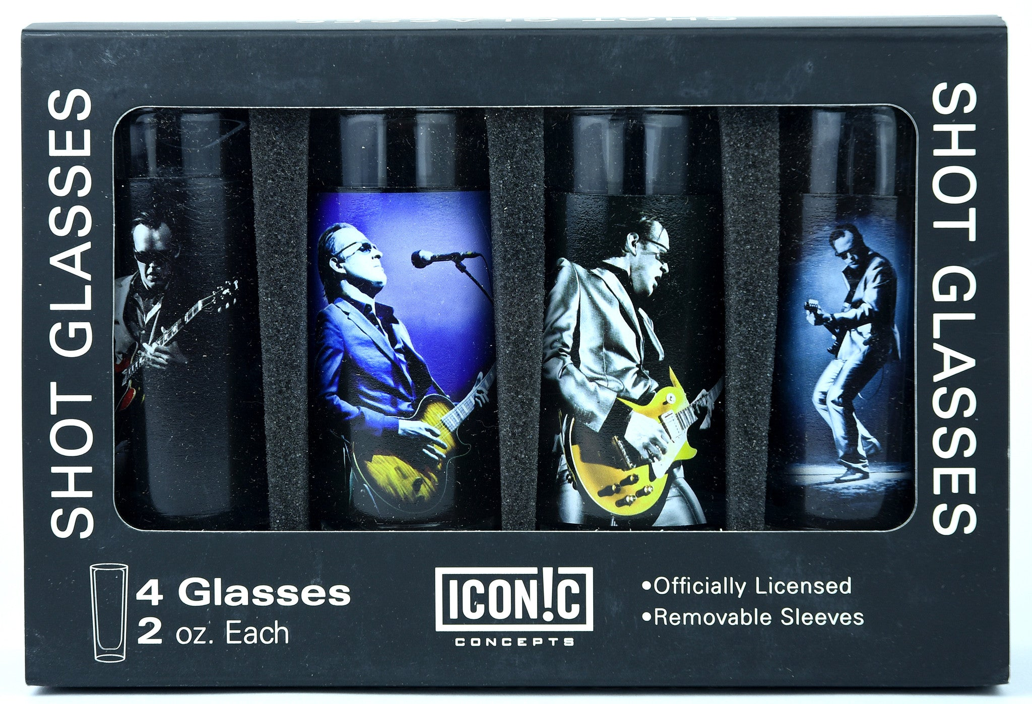 Joe Bonamassa Shot Glasses 4Pack With Aluminum Sleeves