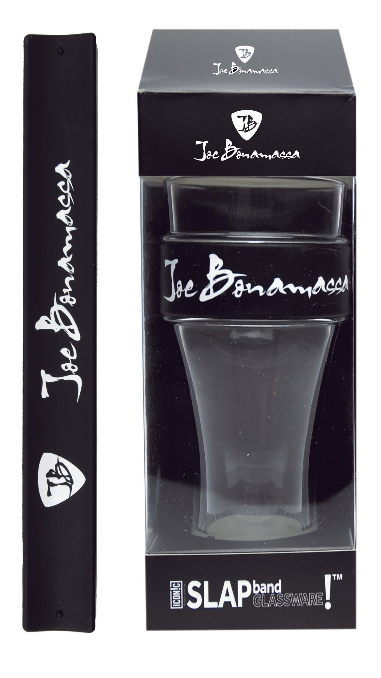 Joe Bonamassa Slap Band Glassware - Single Pack with Slap Band Joe Bonamassa Black Band/White Logo